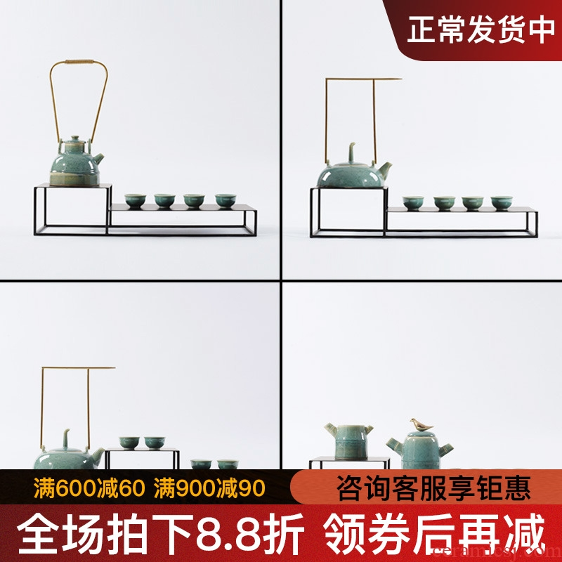 New Chinese style ceramic tea set tea zen teapot tea tray example room sitting room soft adornment is placed