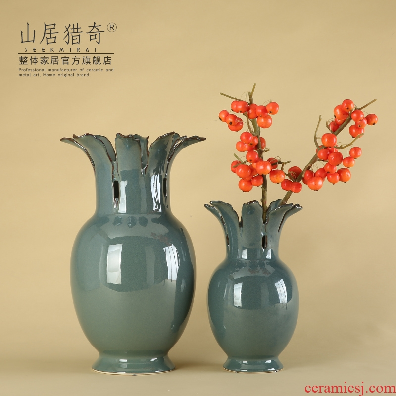Modern household living room TV cabinet decoration flower arranging device furnishing articles hollow out big blue porcelain vase petals round bottles