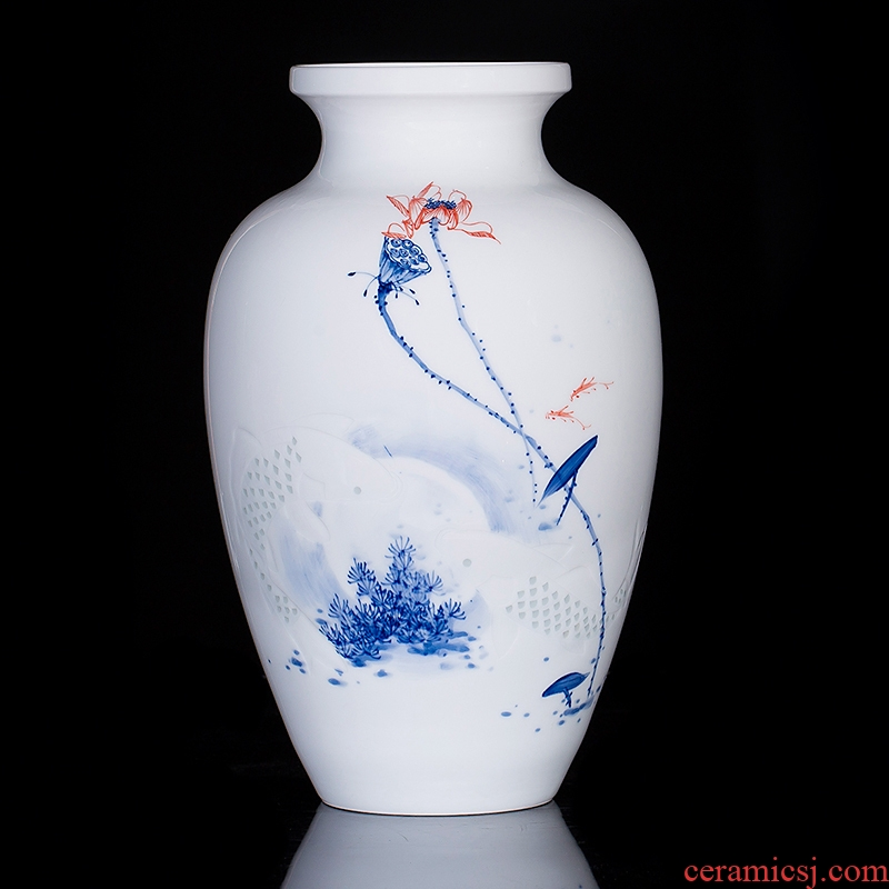 Jingdezhen ceramics hand - made vases furnishing articles sitting room knife clay flower arranging new Chinese style household TV ark, adornment