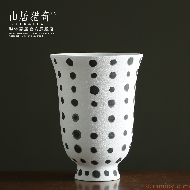 Black frosted glass ceramic vase mesa big flower implement Nordic sitting room TV cabinet table decoration furnishing articles arranging flowers