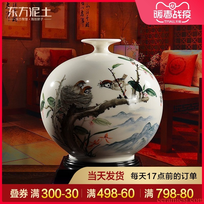 Oriental soil dehua white porcelain ceramics hand - made vases furnishing articles of Chinese style living room a study rich ancient frame ornaments
