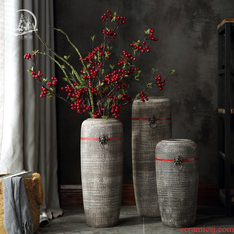 Jingdezhen ceramic dry flower of large vase creative restoring ancient ways the sitting room porch flower arrangement, household adornment furnishing articles