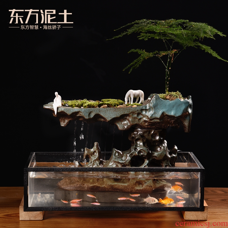 East clay ceramic water furnishing articles creative living room TV ark, water fish cylinder device/empty mountain asked