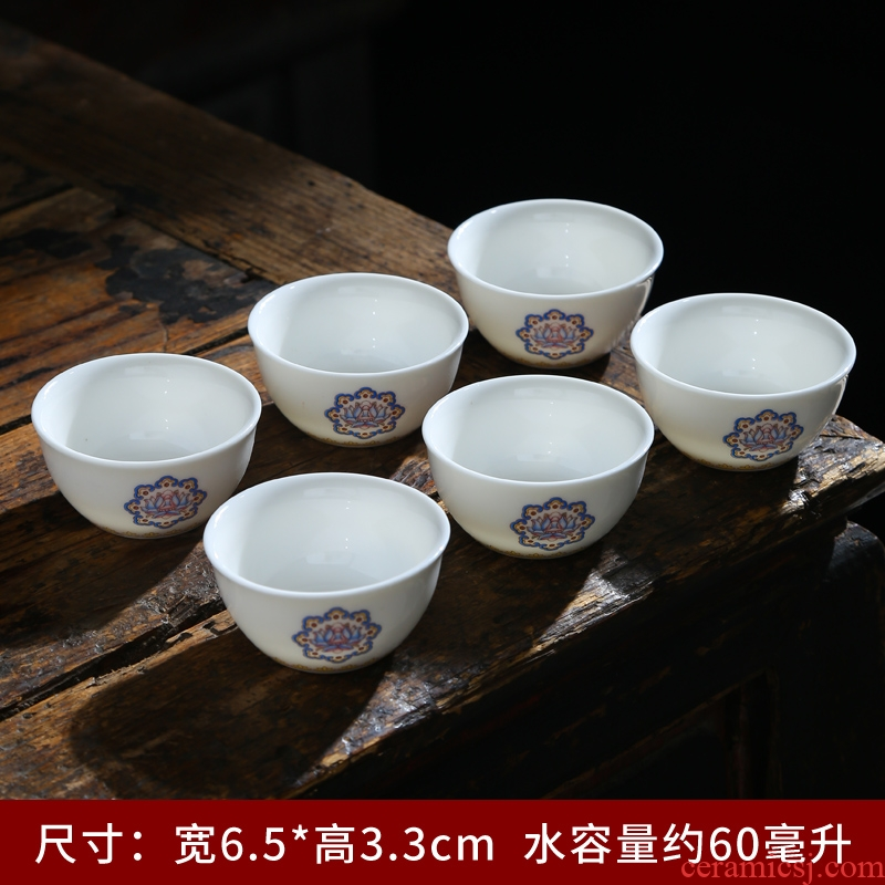 Dehua suet jade white porcelain ceramic masters cup personal cup single CPU kung fu tea cups pu - erh tea cup sample tea cup