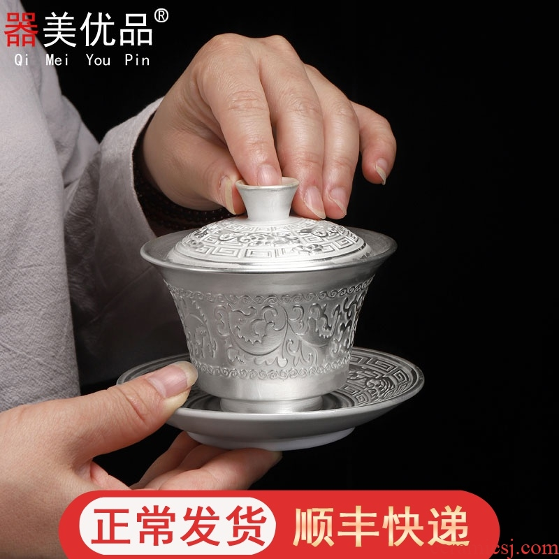 Three to implement the optimal product manual coppering. As silver tureen silver clasp porcelain hand grasp large hot tea cup kung fu tea set home