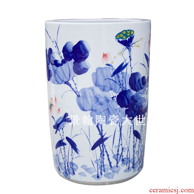 Jingdezhen ceramics scroll of painting and calligraphy calligraphy and painting cylinder cylinder umbrella bucket cylinder umbrella receives landing big vase decoration