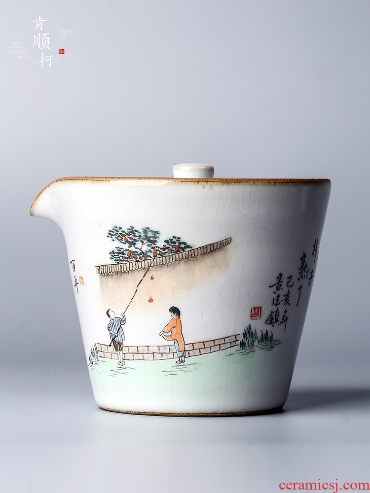 Jingdezhen hand grasp Chinese teapot your up hand - made persimmon ripe tea tureen tea hot kung fu tea bowl