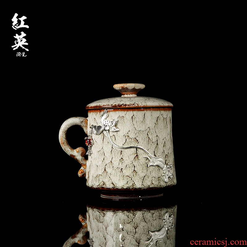 Red the jingdezhen ceramic up with silver creative tea cups with cover household office tea tea cups