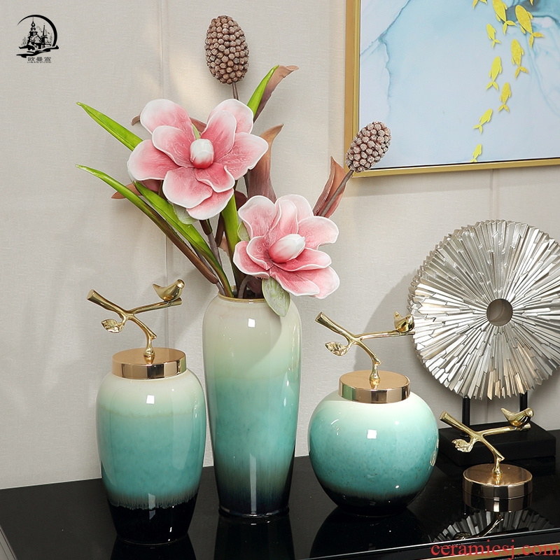 Jingdezhen European ceramic vase furnishing articles sitting room dry flower art home decorations table hydroponic flower adornment