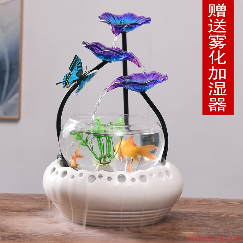 Ceramic circulating water fountain humidifier tank lucky home sitting room and office furnishing articles shops opening gifts