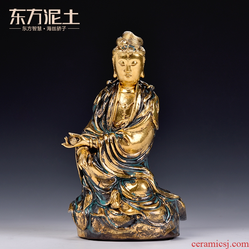 Oriental soil mixed bronze color comfortable guanyin handicraft furnishing articles ceramic desktop rich ancient frame sitting room adornment