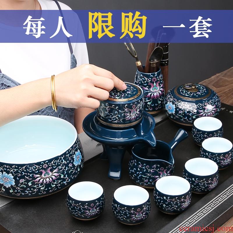 Household of jingdezhen blue and white porcelain kung fu tea set automatic stone mill lazy teapot tea silver tea set