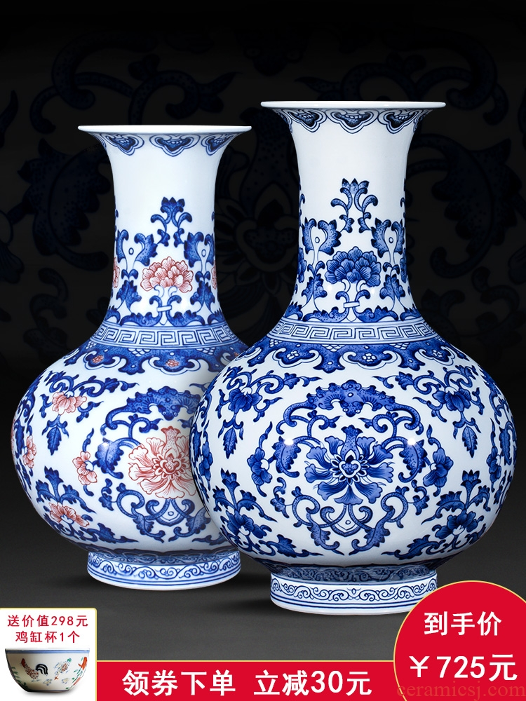 Jingdezhen ceramic antique hand - made large blue and white porcelain vase furnishing articles Chinese style living room decoration crafts are arranging flowers