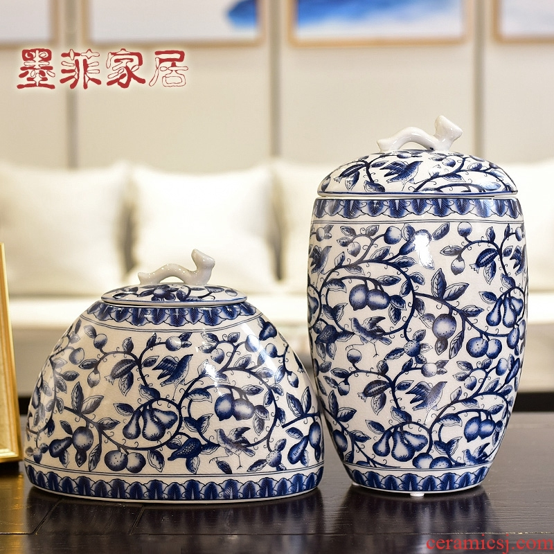 New Chinese style creative furnishing articles receive blue and white porcelain ceramic pot sitting room porch rich ancient frame home decoration decoration
