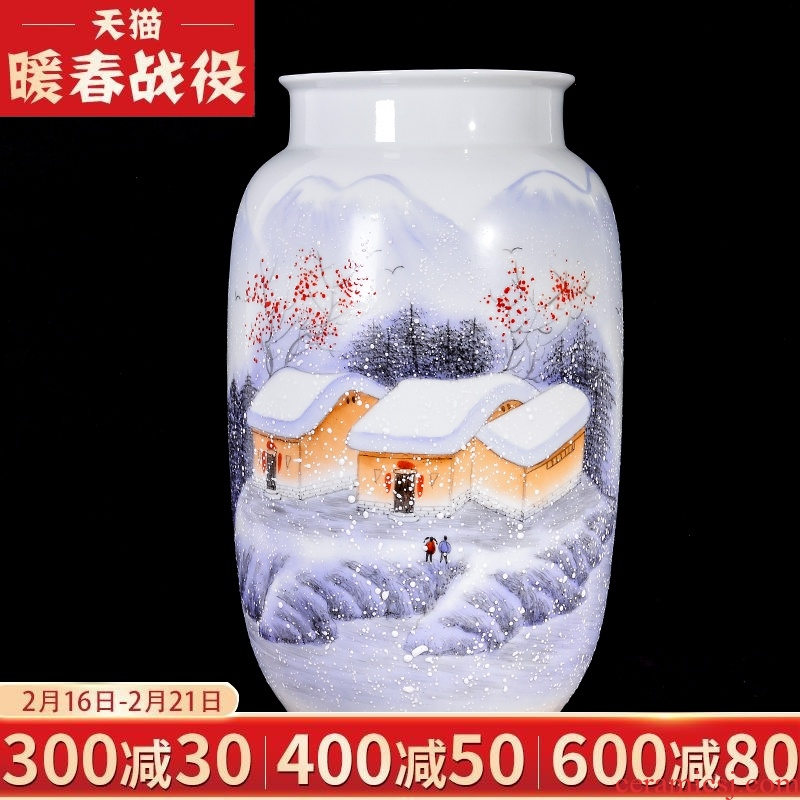 The Master of jingdezhen ceramic hand - made flower arranging dried flower vase sitting room place, new Chinese style household adornment TV ark