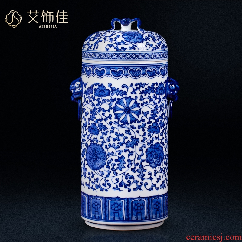 Jingdezhen blue and white ears around antique ceramics lotus flower storage tank caddy fixings Chinese style living room TV cabinet furnishing articles