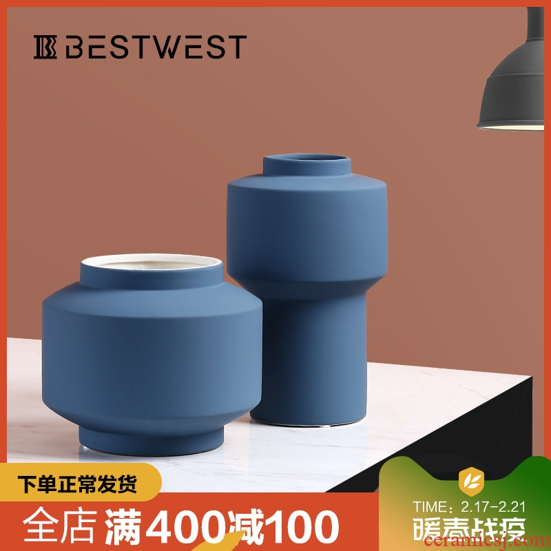 BEST WEST morandi color ceramic vase sample room contracted and I soft adornment creative furnishing articles