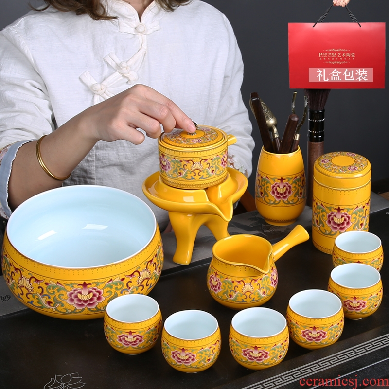A complete set of colored enamel porcelain kung fu tea tea cups of restoring ancient ways of household teapot hot lazy automatic tea set