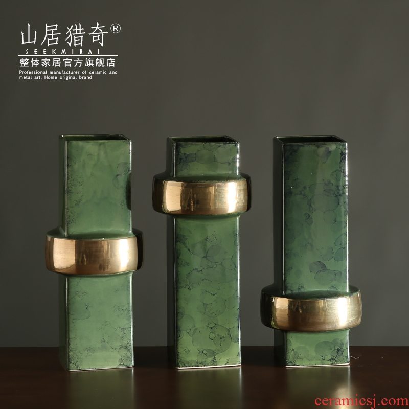 Modern Nordic home sitting room decoration vase furnishing articles three - piece fangyuan bottle green, new classic ceramic vase