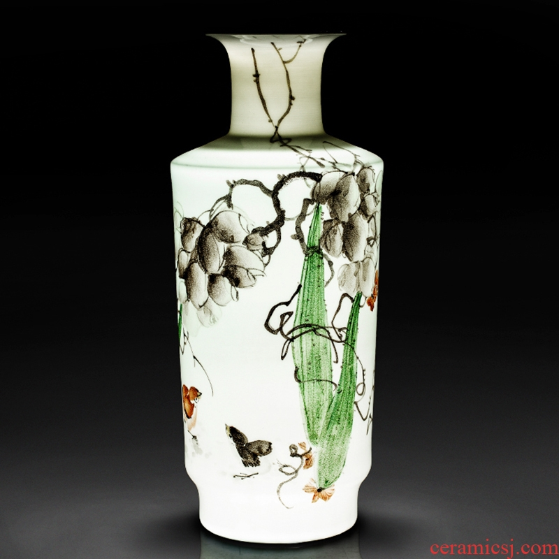 Jingdezhen ceramics by hand draw blue and white porcelain vase colorful new Chinese style in autumn were sitting room adornment is placed