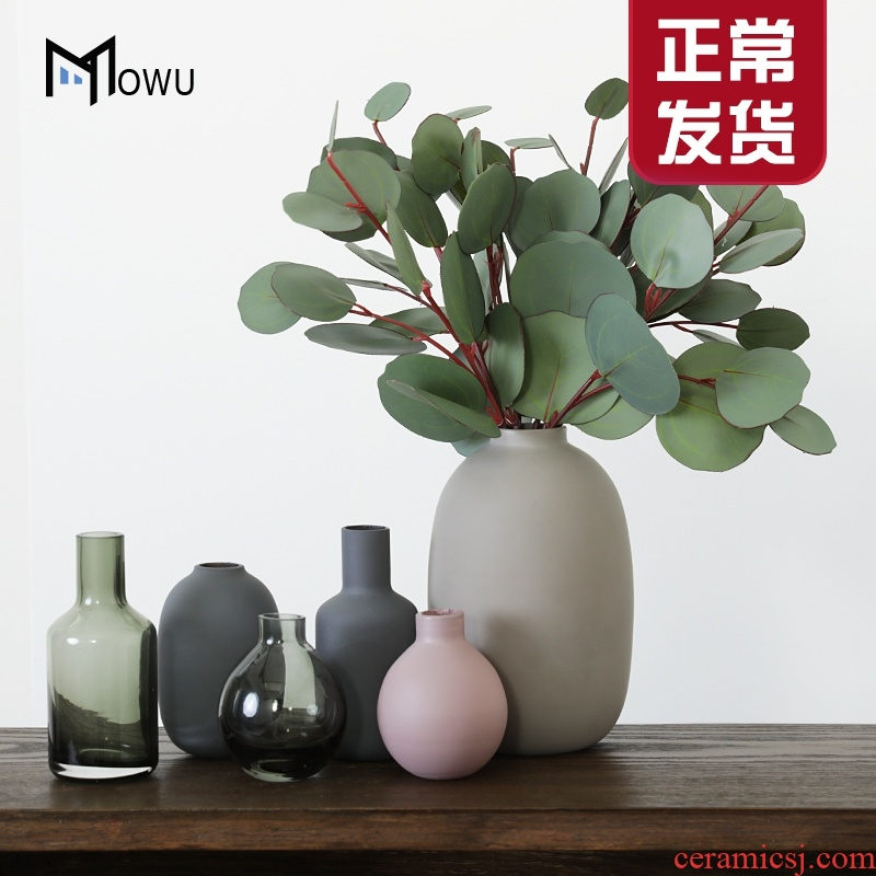 The house, The Nordic morandi color matte enrolled porcelain glass vase furnishing articles household act The role ofing is tasted flower arranging flowers sitting room decoration