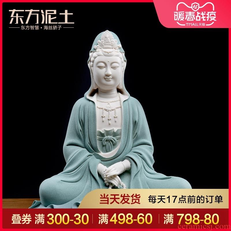 Oriental clay ceramic at home furnishing articles dehua white porcelain avalokitesvara figure of Buddha its/meditation guanyin