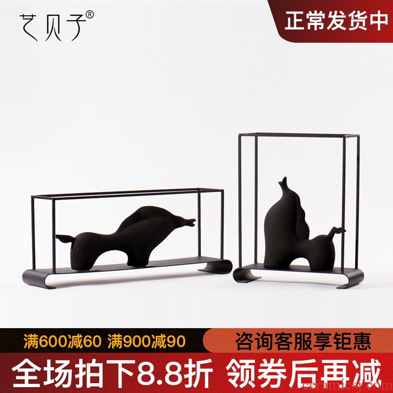 New Chinese style horse furnishing articles study the geometry window decorations metal ceramic art show soft outfit decoration