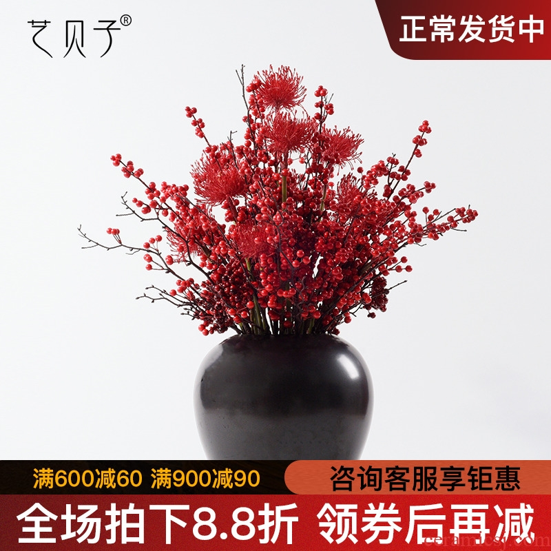 New Chinese style home soft decoration ceramic vase simulation whole dried flowers floral zen study porch place