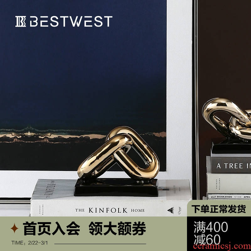 BEST WEST creative chain between soft furnishing articles metallic ceramic decoration designer example light key-2 luxury decoration