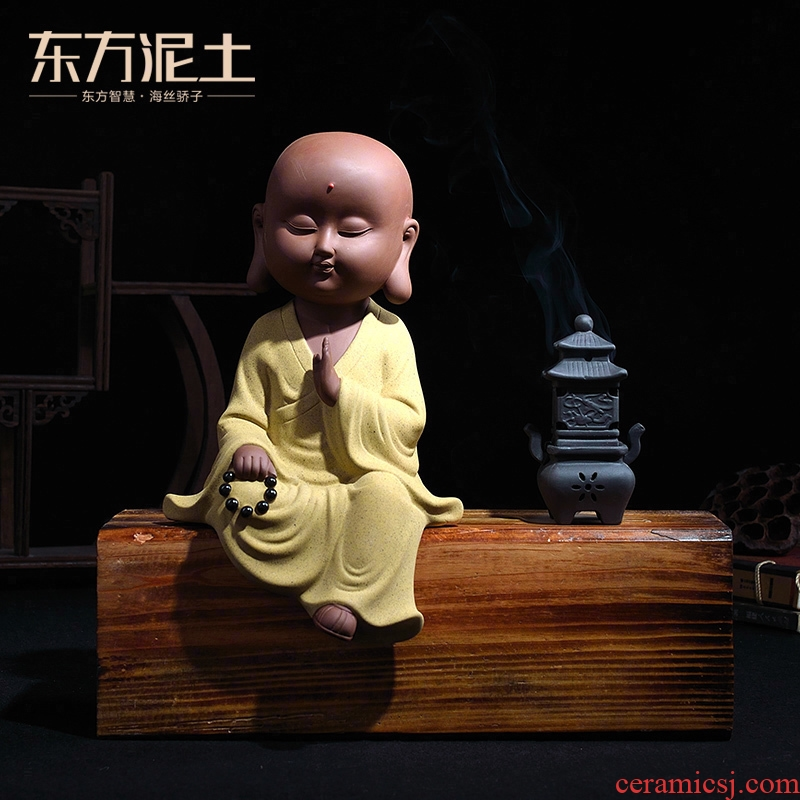 Oriental clay ceramic little novice monk zen furnishing articles desktop accessories/wisdom young monk Chinese study