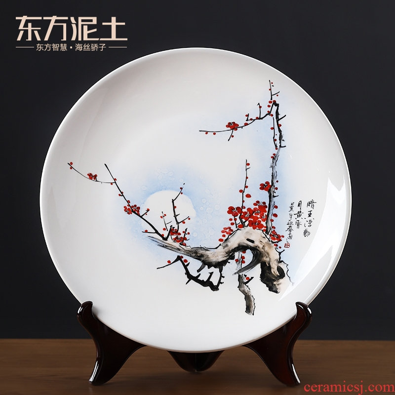 Oriental clay ceramic hand - made hang dish place to live in the living room TV cabinet rich ancient frame decoration plate works of art