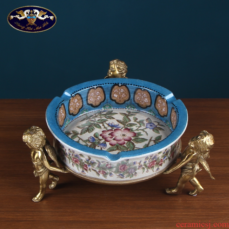 European American ceramic ashtray restoring ancient ways is pure copper large key-2 luxury individuality creative home sitting room tea table furnishing articles