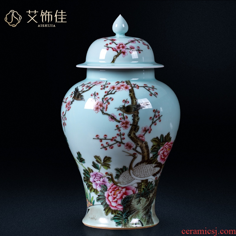 Jingdezhen ceramics archaize general tank enamel storage tank of the sitting room of Chinese style household wine TV ark, adornment