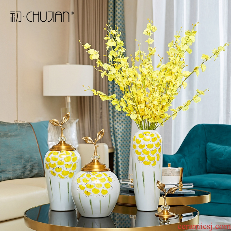 European home furnishing articles sitting room TV ark, new classical household soft outfit ceramic flower vases, decoration decoration