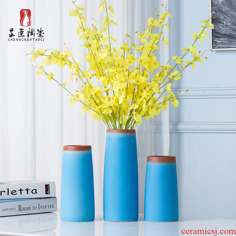 Jingdezhen boreal Europe style furnishing articles contracted wind blue vase sitting room tea table desktop flower vase vase