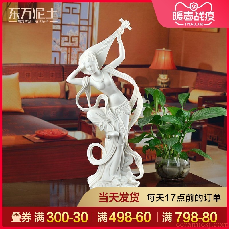 Oriental soil dehua white porcelain its art modern Chinese style living room decoration furnishing articles/rebound pipa D02-30