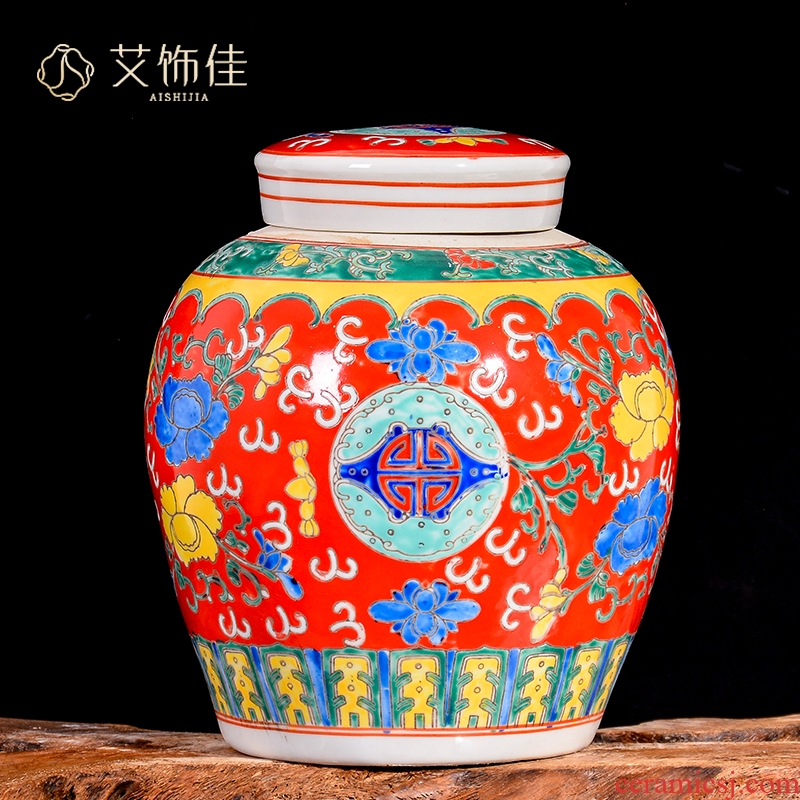 Jingdezhen ceramic powder enamel general tank storage tank POTS caddy fixings home sitting room TV ark adornment furnishing articles