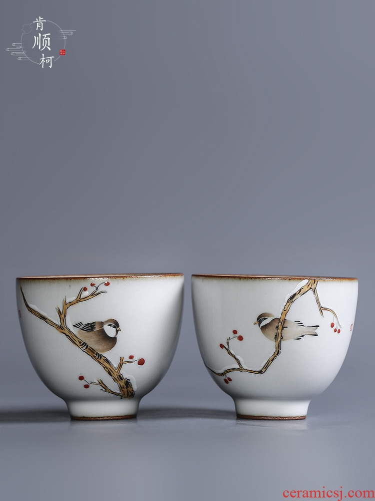 Your up hand - made riches and honour bird cup masters cup pure manual jingdezhen sample tea cup single glass ceramic kung fu tea set