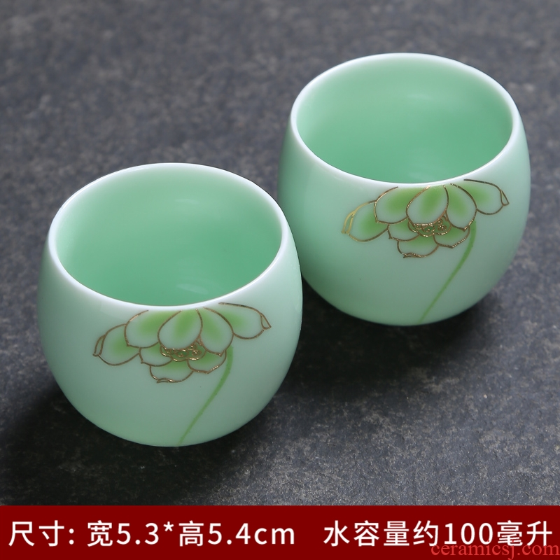 The Simplicity of a complete set of tea cups celadon single cup suit household kung fu tea set ceramic lid bowl) group