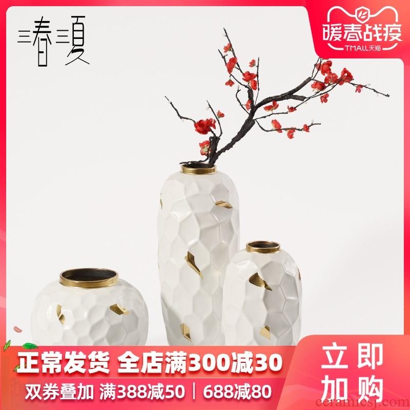 New Chinese style white mesa of up phnom penh ceramic vase furnishing articles table sitting room ground ark, dried flowers, geometric flower arrangement