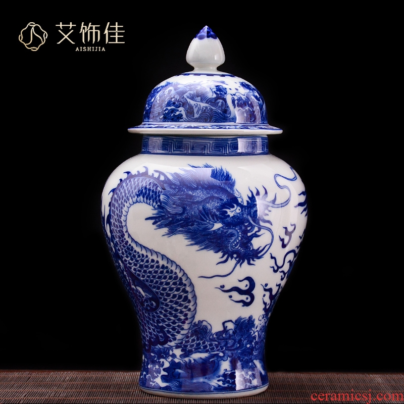Jingdezhen blue and white dragon ceramics general tank storage tank household caddy fixings adornment handicraft furnishing articles in the living room