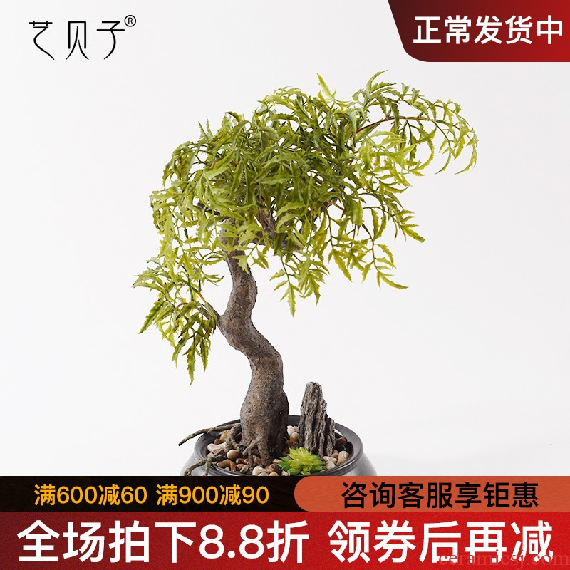 The New Chinese zen green potted simulation flower art pottery pot example room soft adornment the plants floral suit