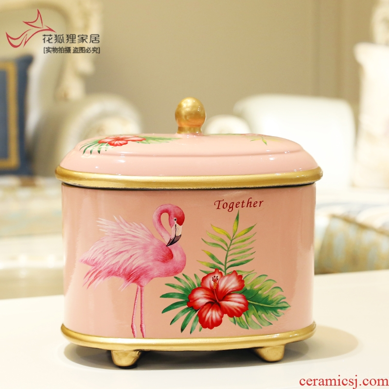 Creative ceramic tank storage tank furnishing articles with cover home sitting room tea table candy jar household adornment caddy fixings as cans