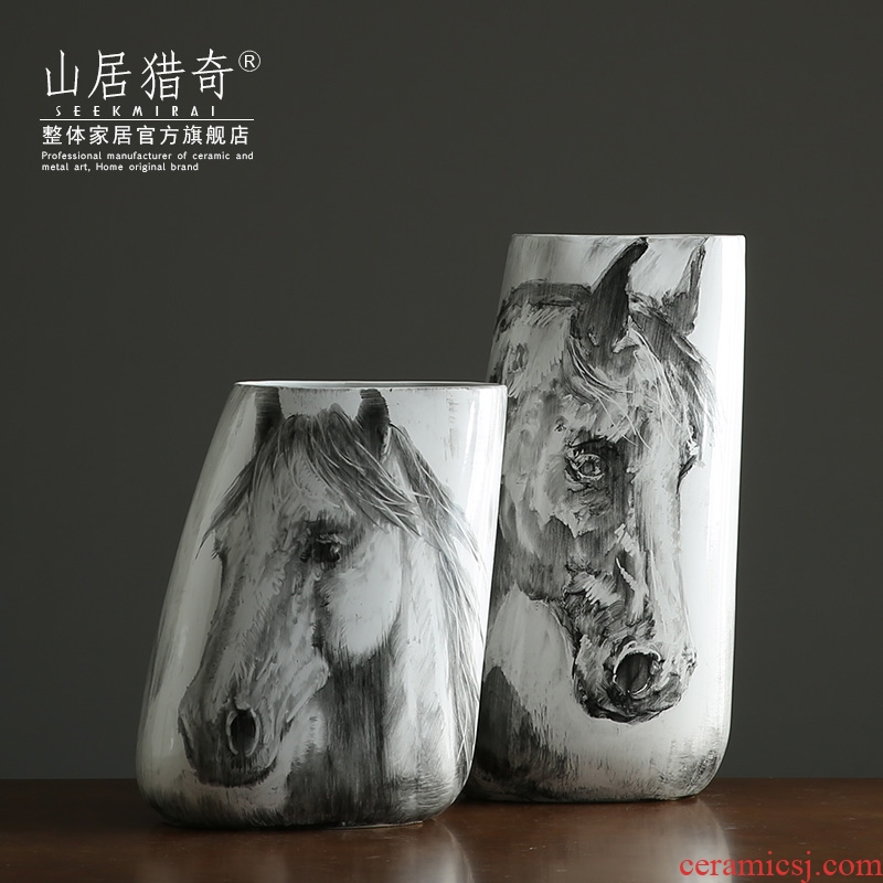 Nordic new Chinese hand - made ink horsehead ceramic vases, large flower arranging flowers sitting room porch decorate furnishing articles