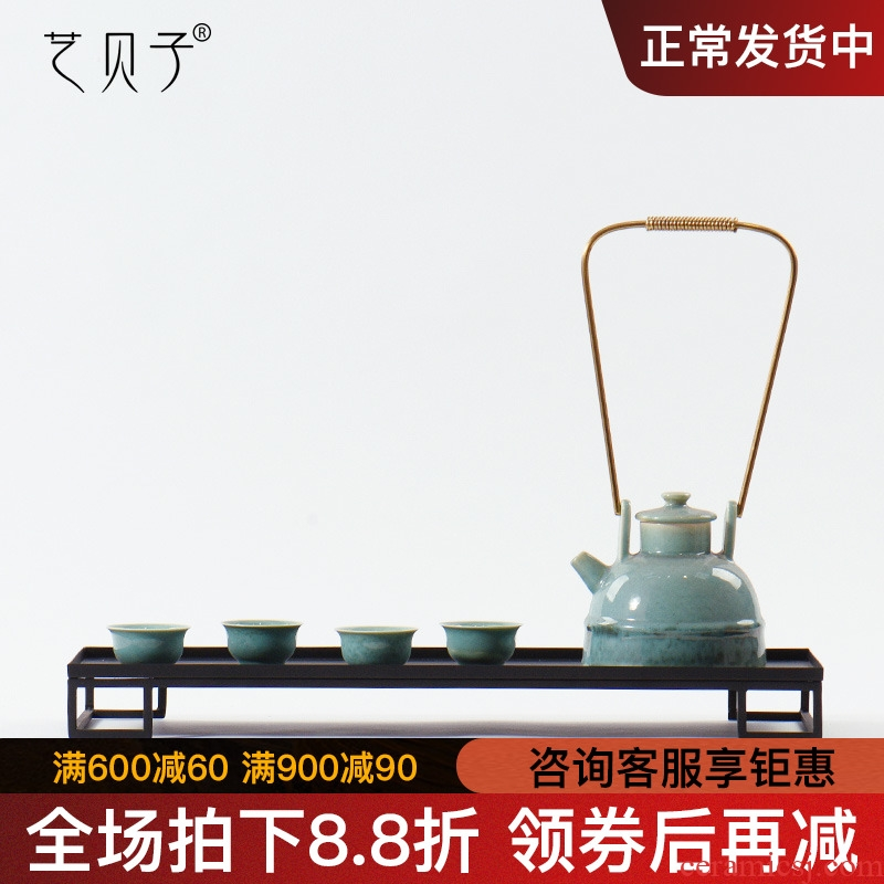Zen tea room art BeiZi new Chinese style ceramic teapot decorations soft outfit sample room metal art furnishing articles