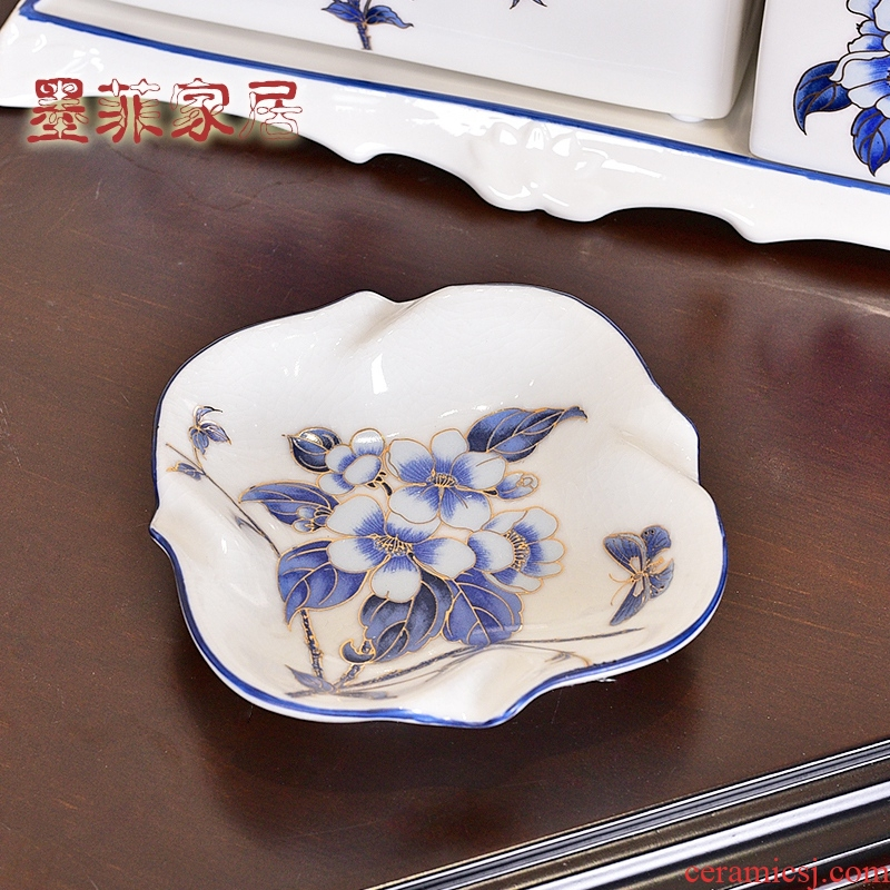 New Chinese style creative furnishing articles American ceramic ashtray office sitting room bedroom ashtray home decoration decoration