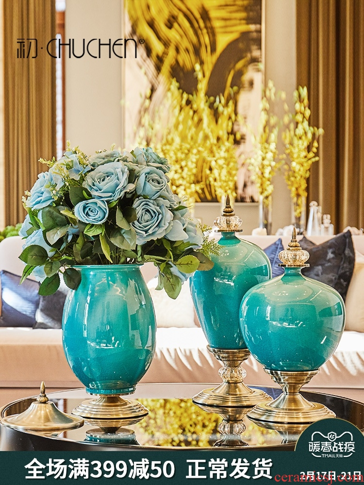 European vase furnishing articles flower arranging ceramic example room sitting room porch ark, American TV cabinet table home decoration