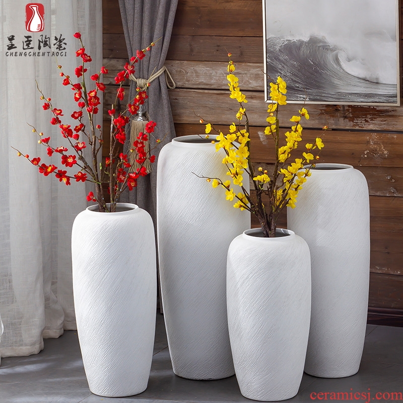 Jingdezhen ceramic vase furnishing articles thread landing large white flower arranging the sitting room is contracted modern new Chinese style living room