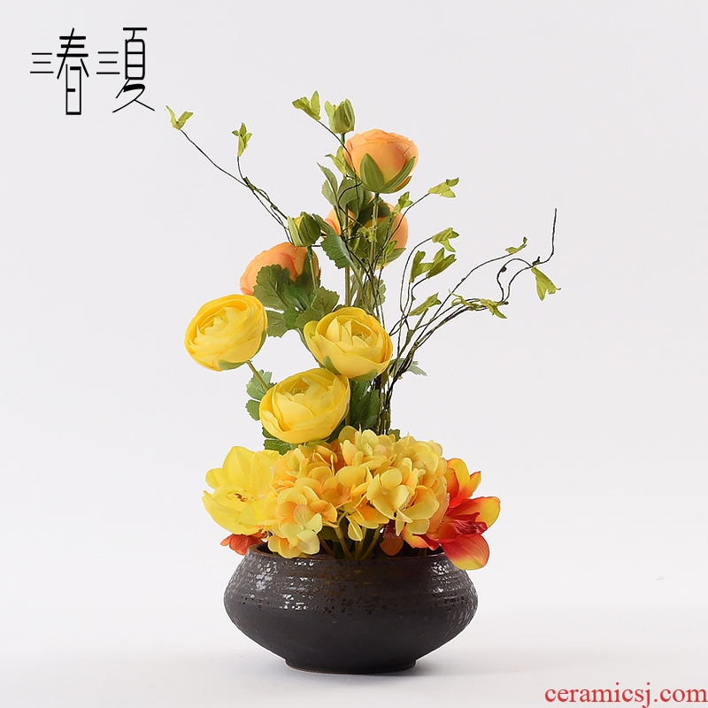 New Chinese style light key-2 luxury ceramic vases, flower art simulation flower arranging soft outfit negotiate desktop TV ark, sitting room porch place