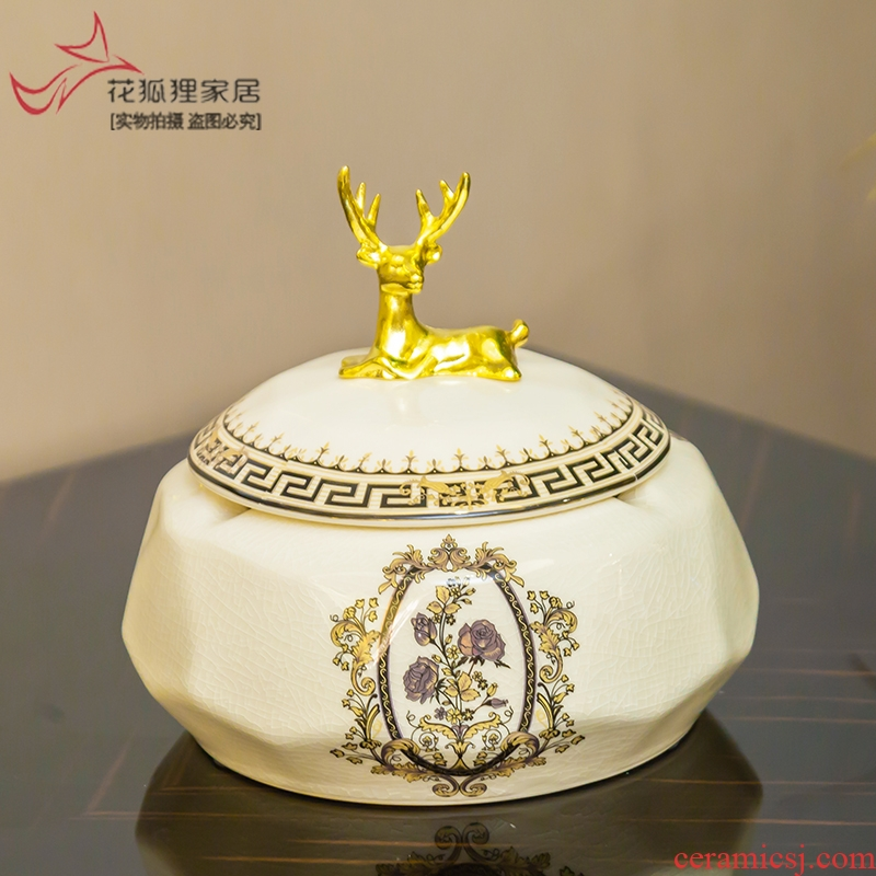 European creative ceramic ashtray move home furnishing articles sitting room tea table decorations with cover large American decoration